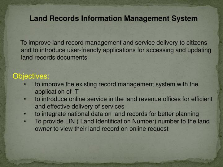 Land Records Information Management System