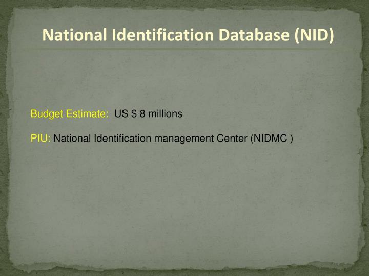 National Identification Database (NID)