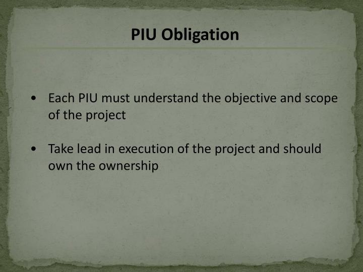 PIU Obligation