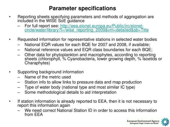 Parameter specifications