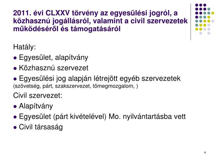 2011. évi CLXXV törvény az egyesülési jogról, a közhasznú jogállásról, valamint a civil szervezetek működéséről és támogatásáról