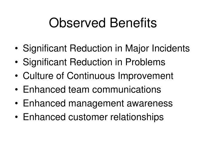 Observed Benefits
