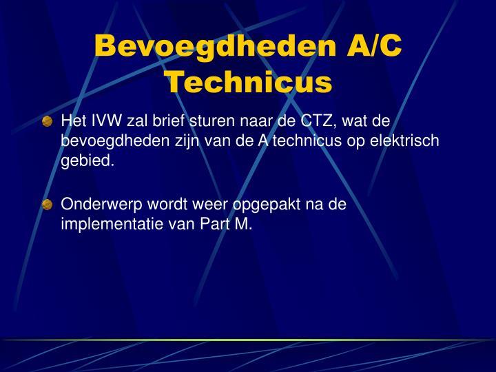 Bevoegdheden A/C Technicus