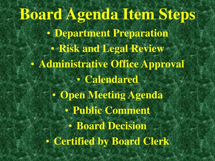 Board Agenda Item Steps