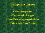 budgetary issues