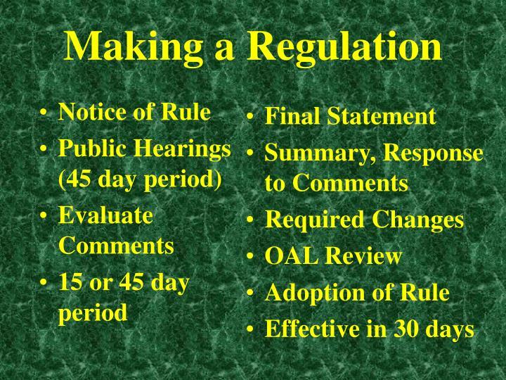 Notice of Rule