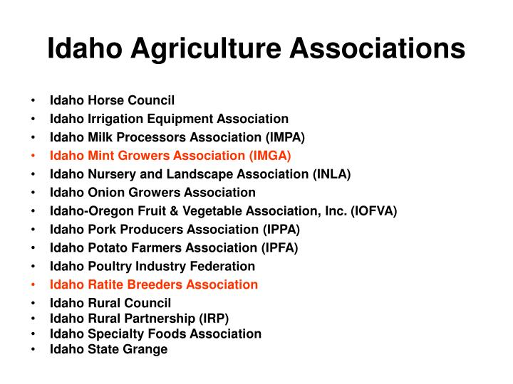 Idaho Agriculture Associations