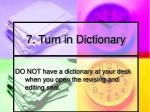 7 turn in dictionary