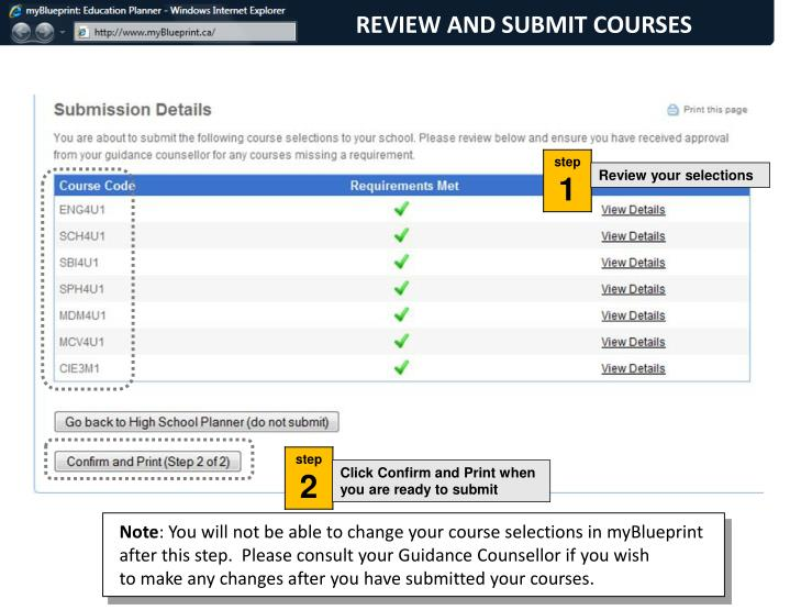 REVIEW AND SUBMIT COURSES