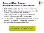 expected mean squares balanced random effects models