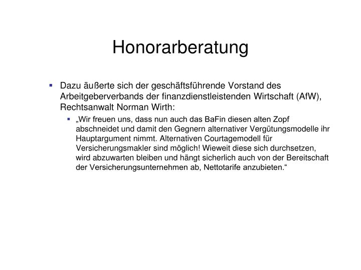 Honorarberatung
