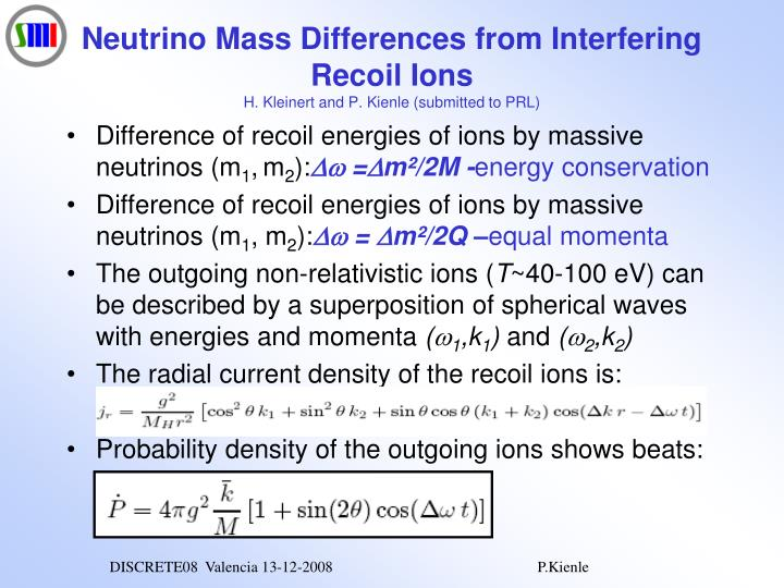 Neutrino Mass Differences from Interfering Recoil Ions