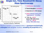 single ion time resolved ec decay mass spectroscopy