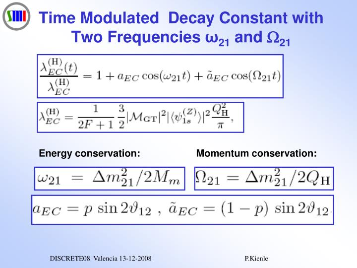Time Modulated  Decay Constant with Two Frequencies