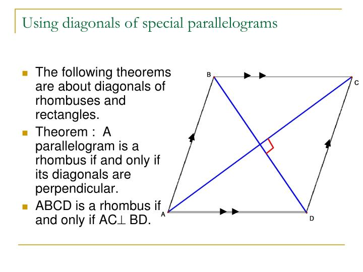 The following theorems are about diagonals of rhombuses and rectangles.