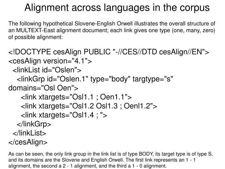 Alignment across languages in the corpus