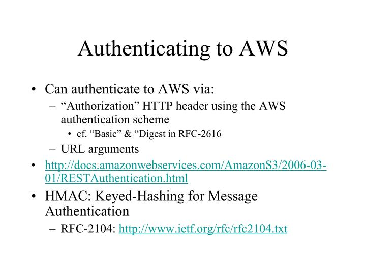 Authenticating to AWS