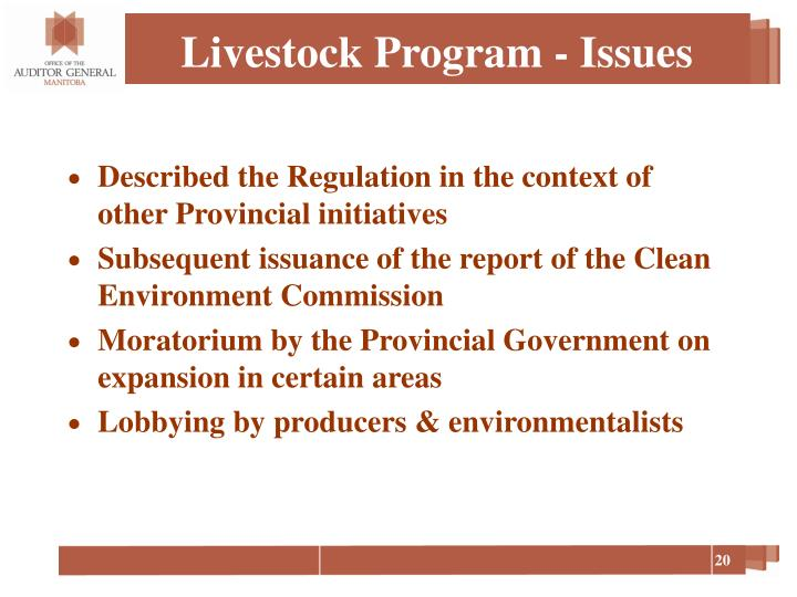 Livestock Program - Issues