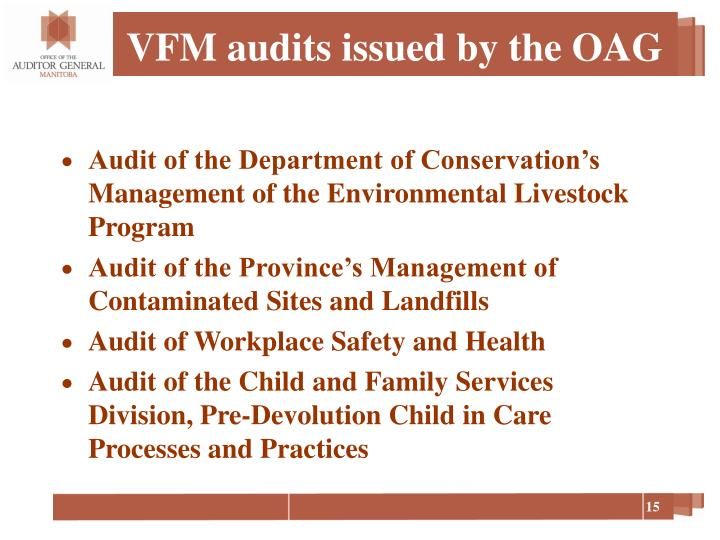 VFM audits issued by the OAG