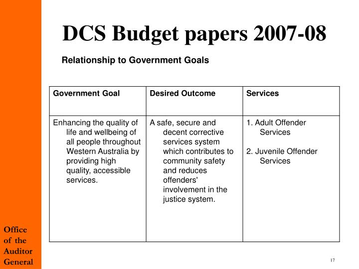 DCS Budget papers 2007-08