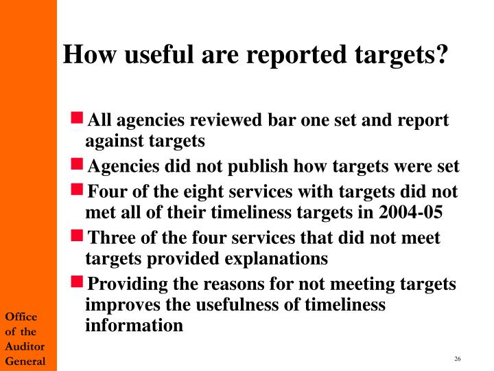 How useful are reported targets?