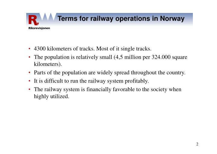Terms for railway operations in Norway