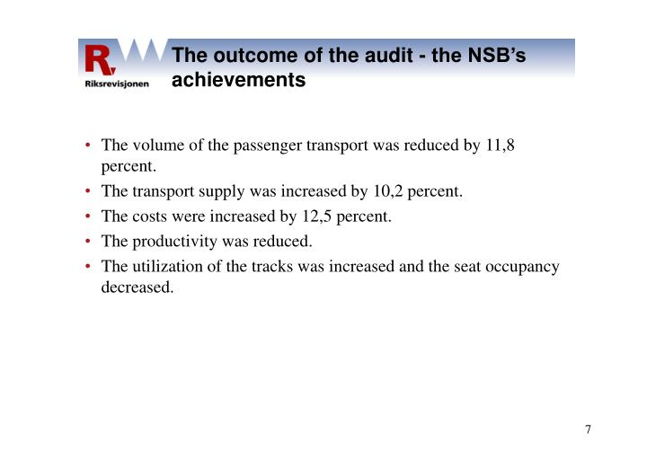 The outcome of the audit