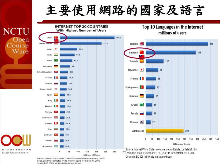 主要使用網路的國家及語言
