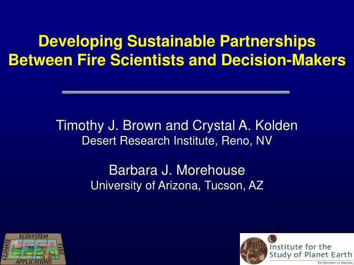 Developing Sustainable Partnerships
