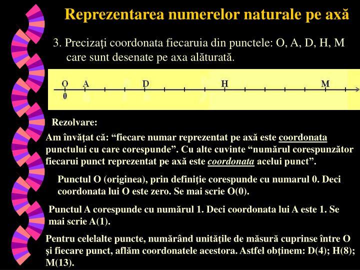Reprezentarea numerelor naturale pe ax