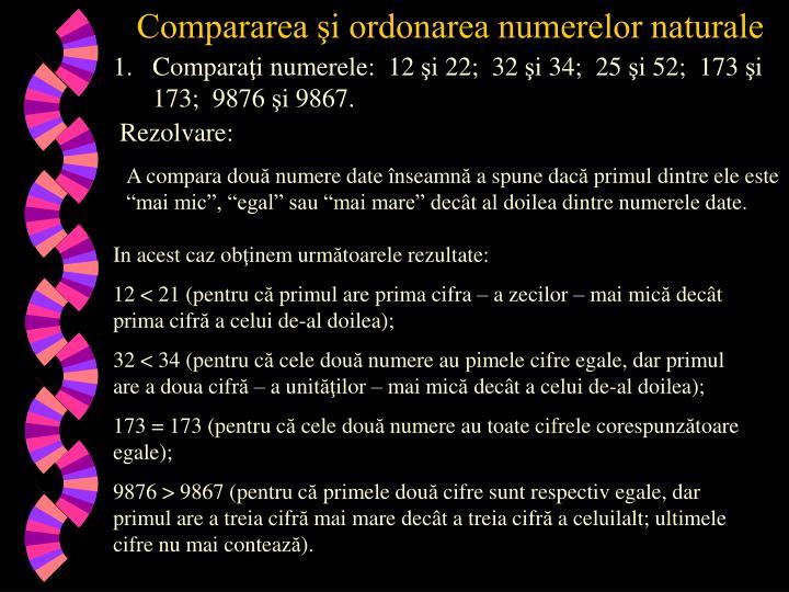 Compararea şi ordonarea numerelor naturale