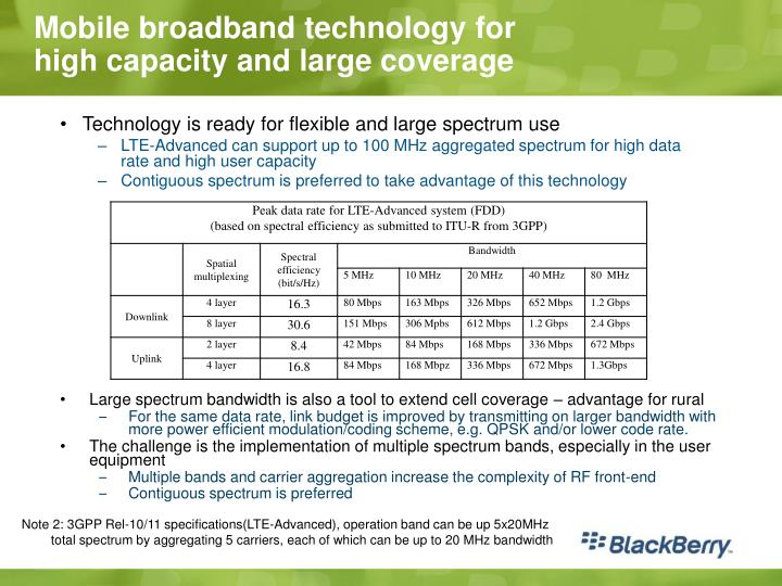Mobile broadband technology for high capacity and large coverage