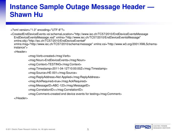 Instance Sample Outage Message Header —Shawn Hu