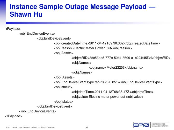 Instance Sample Outage Message Payload —Shawn Hu