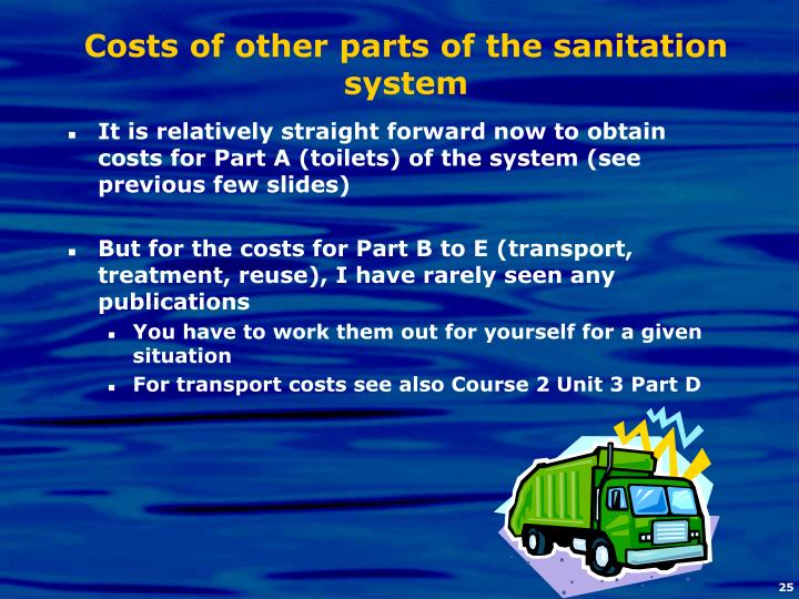 Costs of other parts of the sanitation system