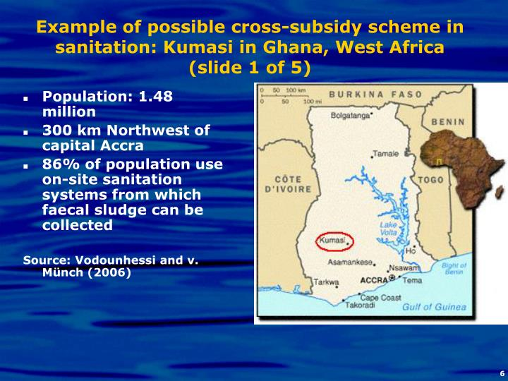 Example of possible cross-subsidy scheme in sanitation: Kumasi in Ghana, West Africa