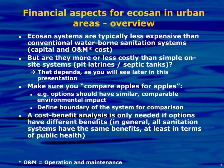 Financial aspects for ecosan in urban areas - overview