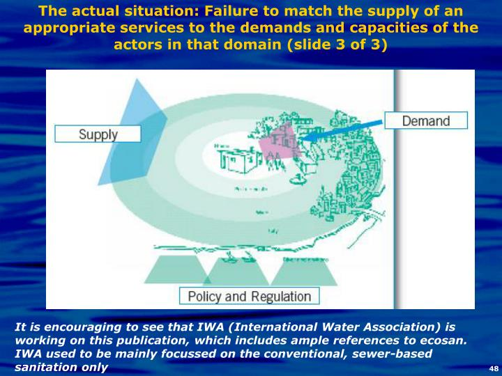 The actual situation: Failure to match the supply of an appropriate services to the demands and capacities of the actors in that domain (slide 3 of 3)