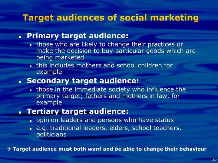 Target audiences of social marketing