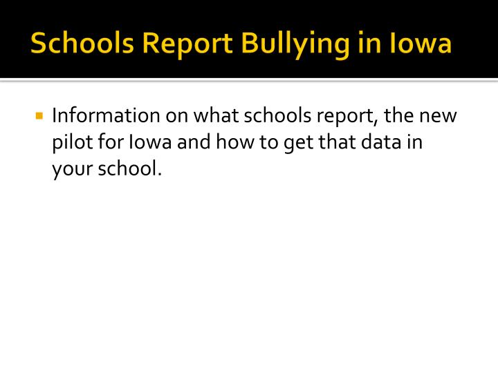 Schools Report Bullying in Iowa