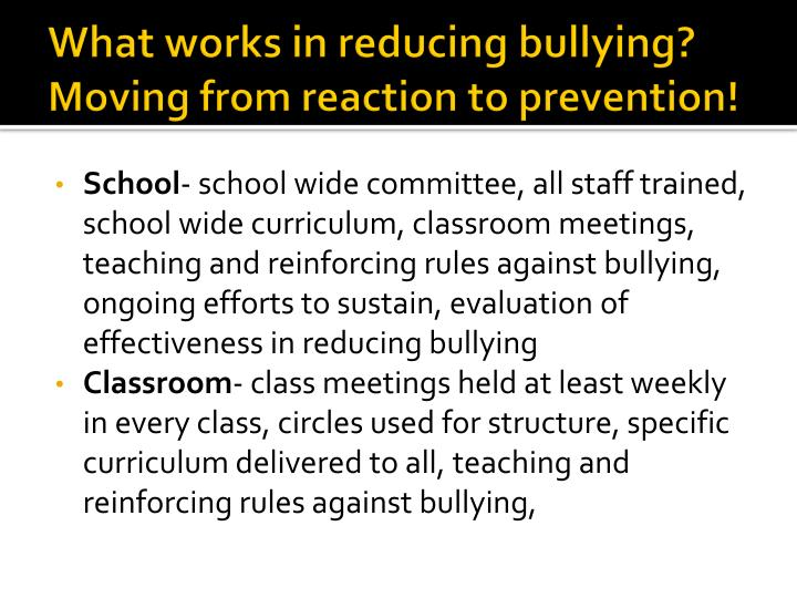 What works in reducing bullying?