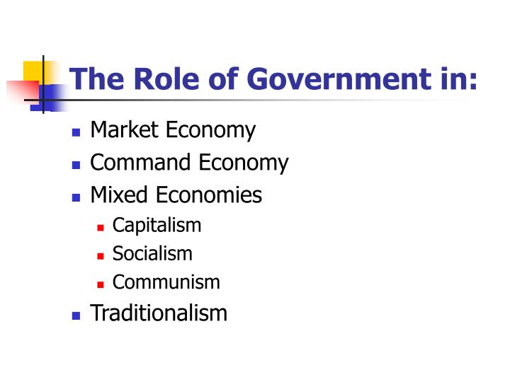 The Role of Government in: