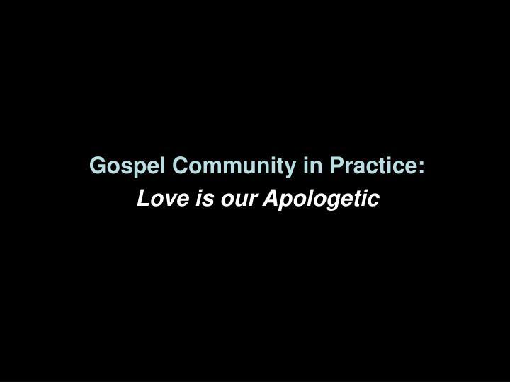 Gospel Community in Practice: