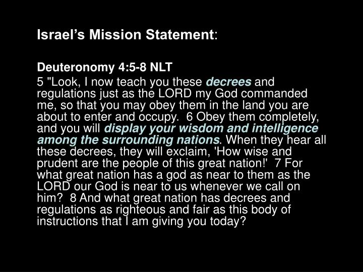 Israel's Mission Statement