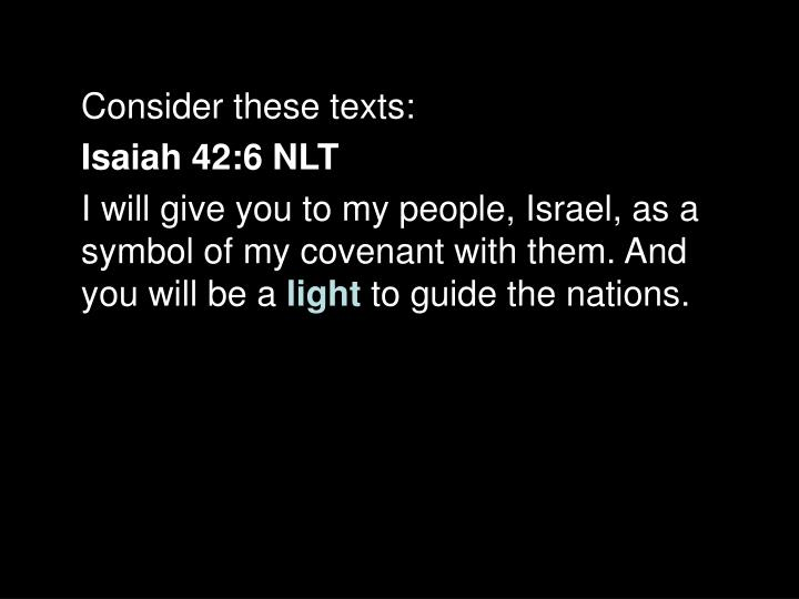 Consider these texts: