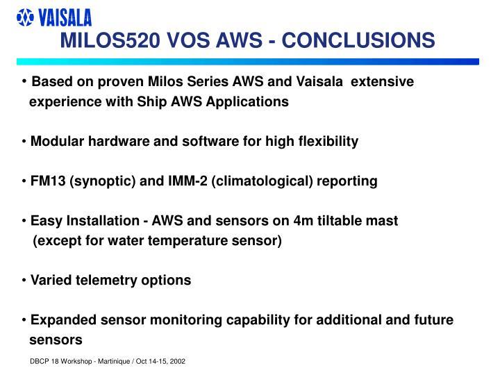 MILOS520 VOS AWS - CONCLUSIONS