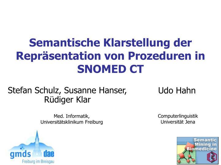 Semantische Klarstellung der  Repräsentation von Prozeduren in
