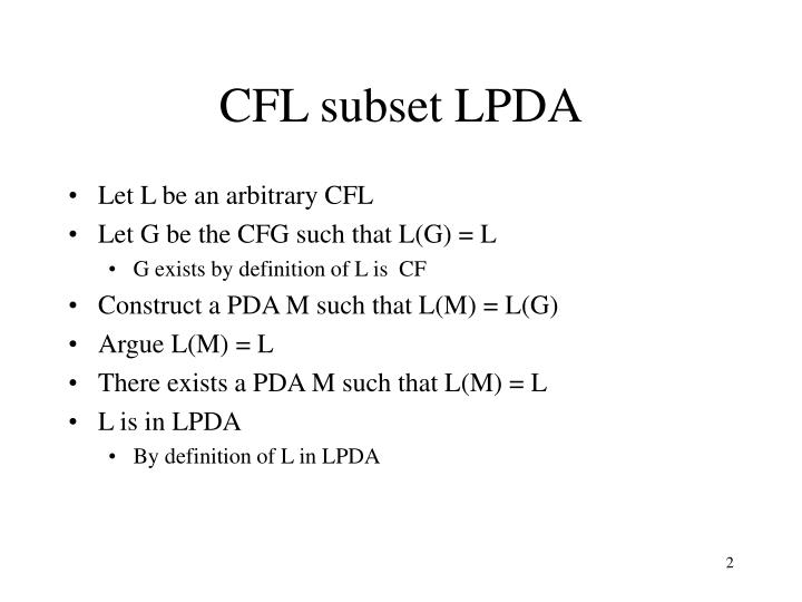 CFL subset LPDA