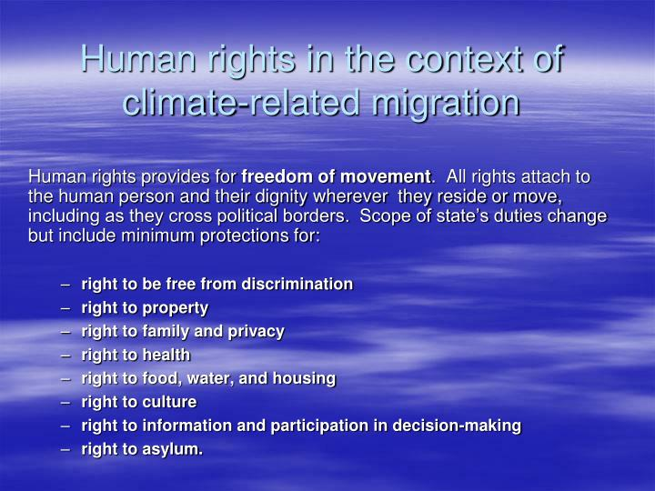 Human rights in the context of climate-related migration