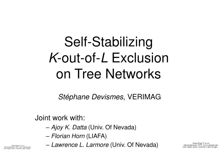 Self stabilizing k out of l exclusion on tree networks